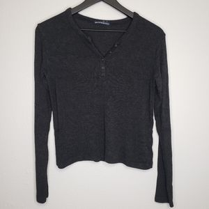 Brandy Melville Charcoal Henley Long Sleeve Top